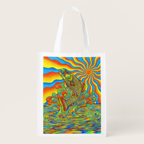 Psychedelic Rainbow Trout Fish Grocery Bag