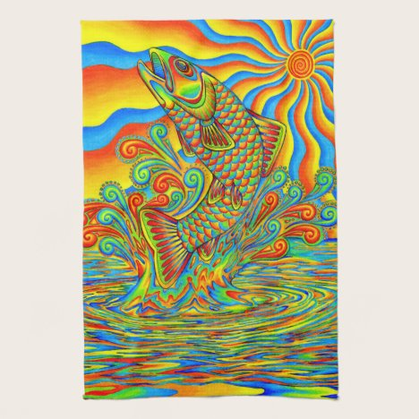 Psychedelic Rainbow Trout Fish Kitchen Towels