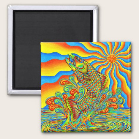Psychedelic Rainbow Trout Fish Magnet