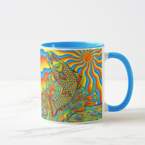 Psychedelic Rainbow Trout Fish Mug