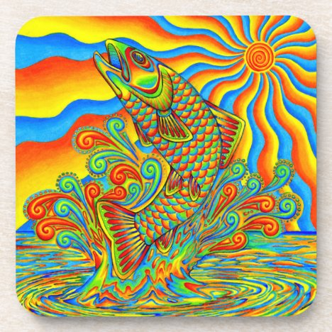 Psychedelic Rainbow Trout Fish Plastic Coasters