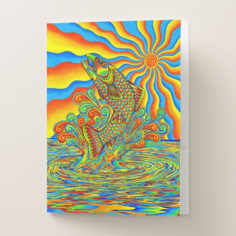 Psychedelic Rainbow Trout Fish Pocket Folders