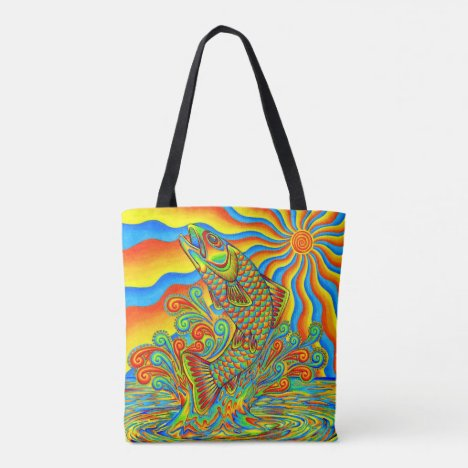 Psychedelic Rainbow Trout Fish Print Tote Bag