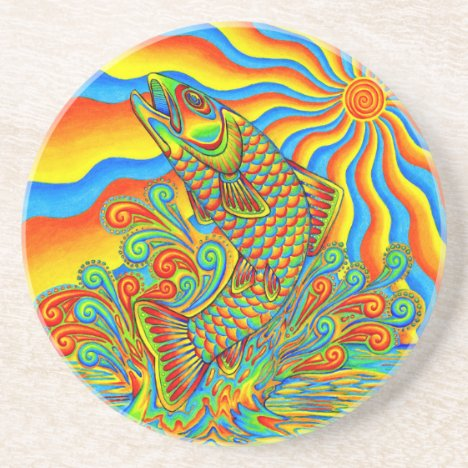 Psychedelic Rainbow Trout Fish Round Stone Coaster