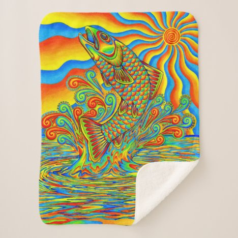 Psychedelic Rainbow Trout Fish Sherpa Blanket