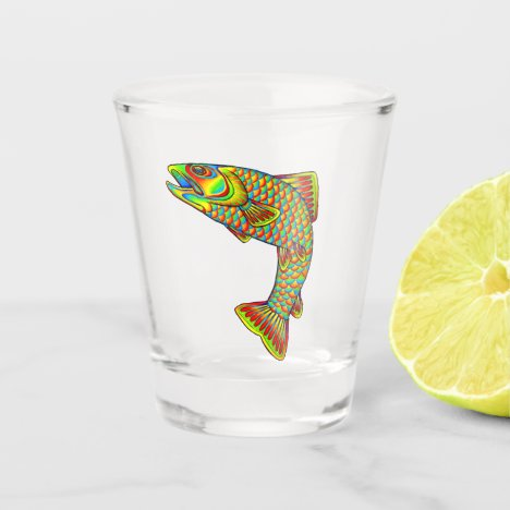 Psychedelic Rainbow Trout Fish Shot Glass