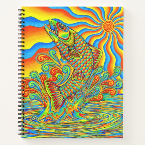 Psychedelic Rainbow Trout Fish spiral notebook