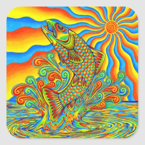 Psychedelic Rainbow Trout Fish Stickers