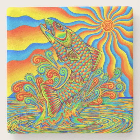 Psychedelic Rainbow Trout Fish Stone Coaster