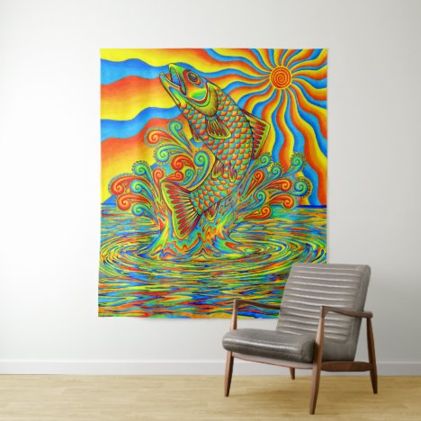 Psychedelic Rainbow Trout Fish Tapestry