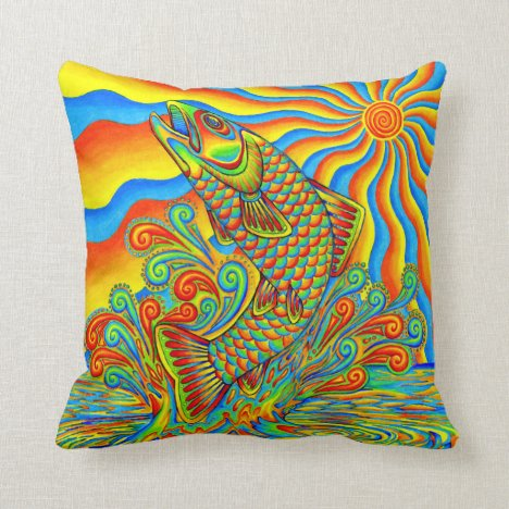 Psychedelic Rainbow Trout Fish Throw Pillow