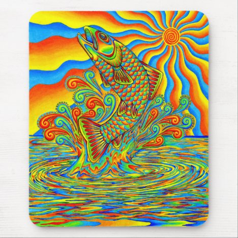 Psychedelic Rainbow Trout Fish Vertical Mouse pad
