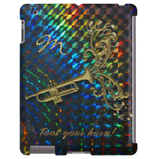 Psychedelic Rainbow Trumpet Personalized iPad Case