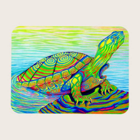 Psychedelic Rainbow Turtle Flexible Magnet