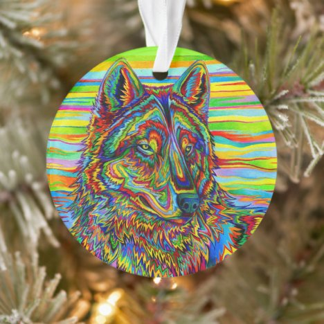 Psychedelic Rainbow Wolf Acrylic Ornament