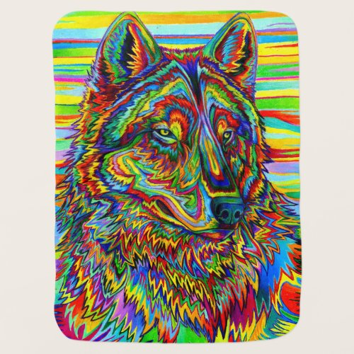 Psychedelic Rainbow Wolf Colorful Baby Blanket