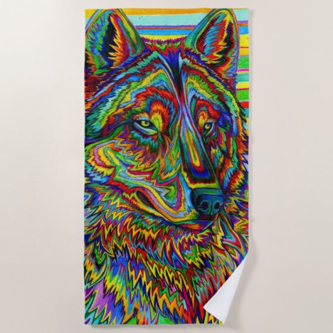 Psychedelic Rainbow Wolf Colorful Beach Towel