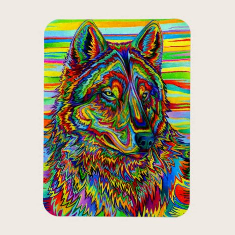 Psychedelic Rainbow Wolf Colorful Flexible Magnet