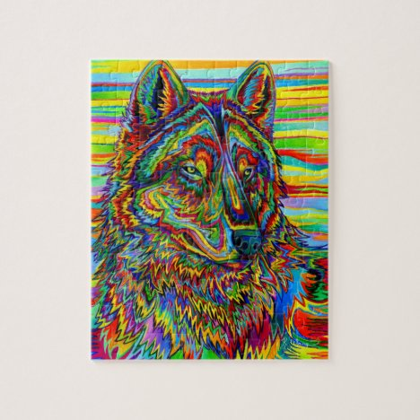 Psychedelic Rainbow Wolf Colorful Jigsaw Puzzle