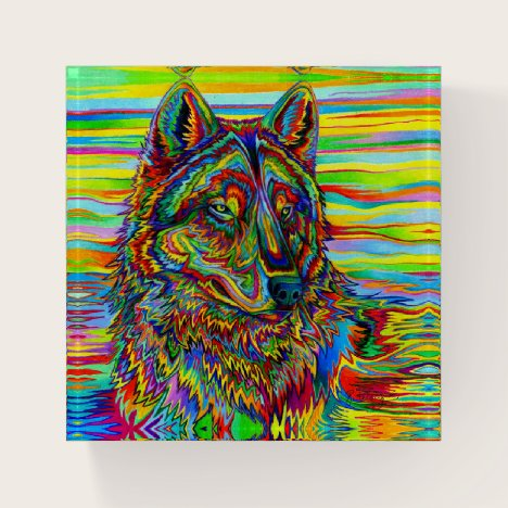 Psychedelic Rainbow Wolf Colorful Paperweight