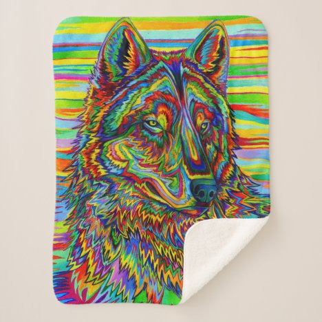 Psychedelic Rainbow Wolf colorful sherpa blanket