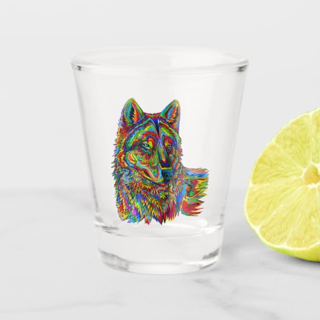 Psychedelic Rainbow Wolf Colorful Shot Glass