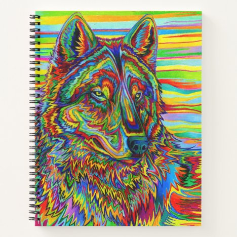 Psychedelic Rainbow Wolf colorful spiral notebook