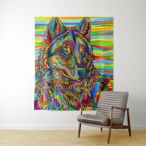 Psychedelic Rainbow Wolf Colorful Wall Tapestry