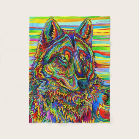 Psychedelic Rainbow Wolf Fleece Blanket