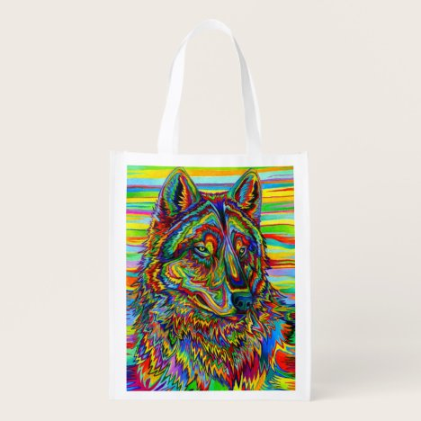 Psychedelic Rainbow Wolf Grocery Bag