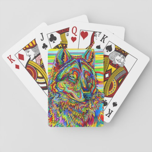 Psychedelic Rainbow Wolf Playing Cards