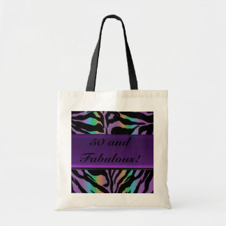 Psychedelic Rainbow Zebra Party Tote Bag