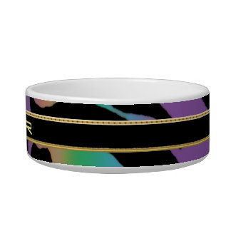 Psychedelic Rainbow Zebra Stripe Fun Collection Cat Bowl