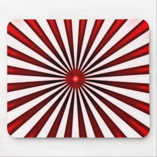 Psychedelic Red Pinwheel Stripes Pattern Mouse Pad