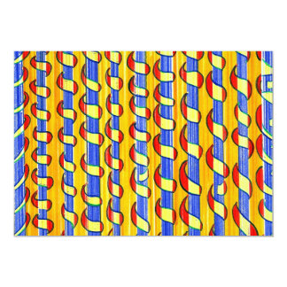 """Psychedelic red yellow Swirls 5"""" X 7"""" Invitation Card"""