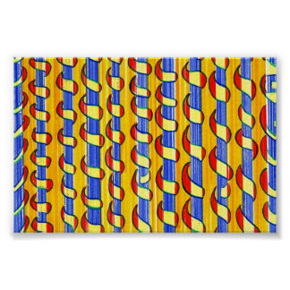 Psychedelic red yellow  Swirls Poster