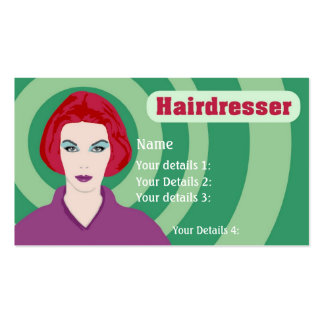Psychedelic Redhead Hairdresser Green Swirls Text Business Card