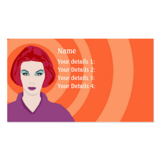 Psychedelic Redhead Hairdresser - Orange Swirls Business Card