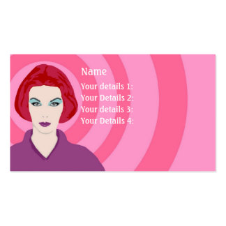 Psychedelic Redhead Hairdresser - Pink Swirls Business Card