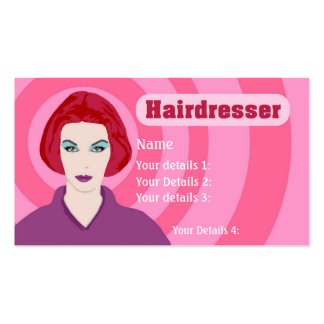 Psychedelic Redhead Hairdresser - Pink Swirls Text Business Card