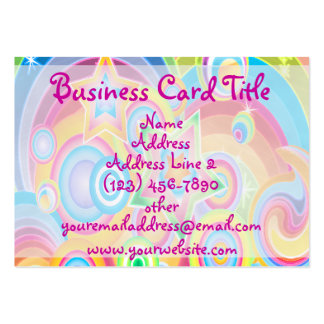 Psychedelic Retro Colorful Stars Business Cards