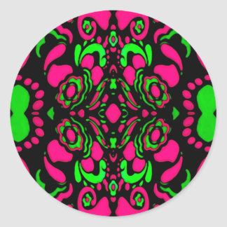 Psychedelic Retro Ornament Classic Round Sticker