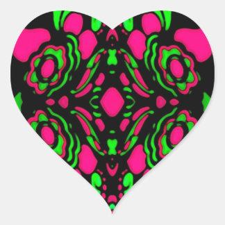 Psychedelic Retro Ornament Heart Sticker