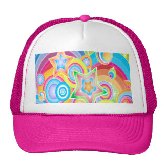 Psychedelic Retro Star Power Design Trucker Hat