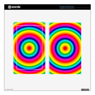 Psychedelic Round Circles Rainbow Pattern Decals For Kindle Fire