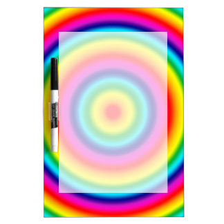 Psychedelic Round Circles Rainbow Pattern Dry-Erase Board