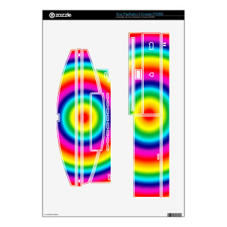 Psychedelic Round Circles Rainbow Pattern Decal For The PS3
