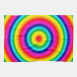 Psychedelic Round Circles Rainbow Pattern Towel