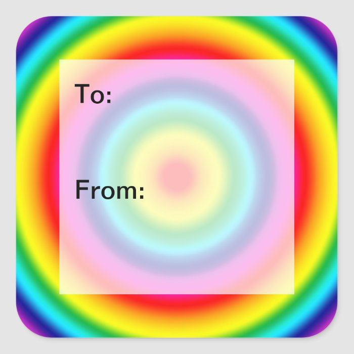 Psychedelic Round Rainbow Pattern Gift Tags Square Sticker