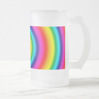 Psychedelic Round Rainbow Pattern Glass Frosted Glass Beer Mug